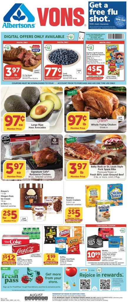 1, Vons Weekly Ad August 18 - 24, 2021