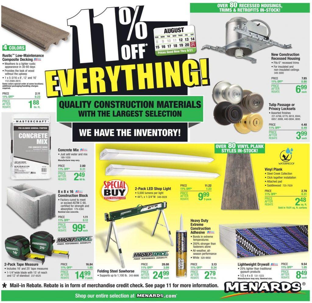 Menards Weekly Ad August 12 - 21, 2021