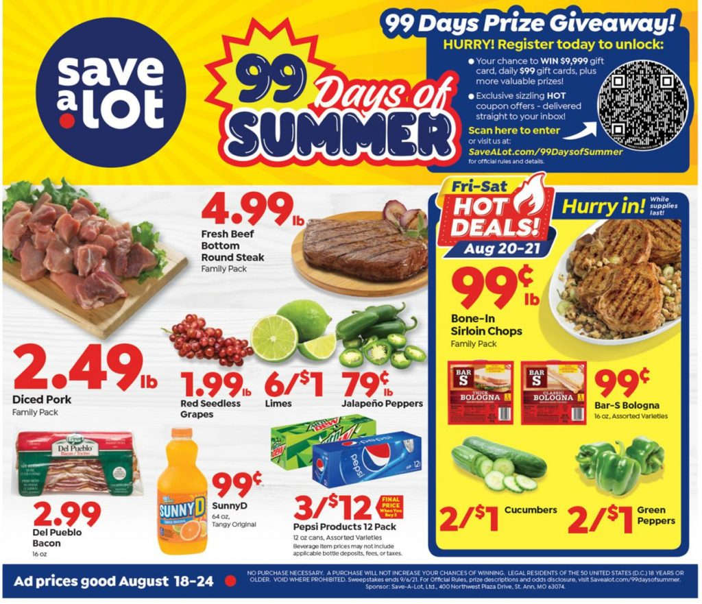 1. Save a Lot Weekly Ad August 18 - 24, 2021