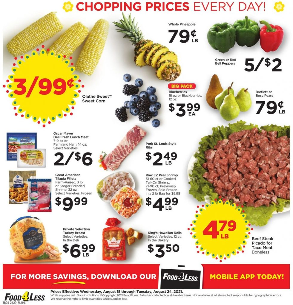 4. Food 4 Less Weekly Ad August 18 - 24, 2021