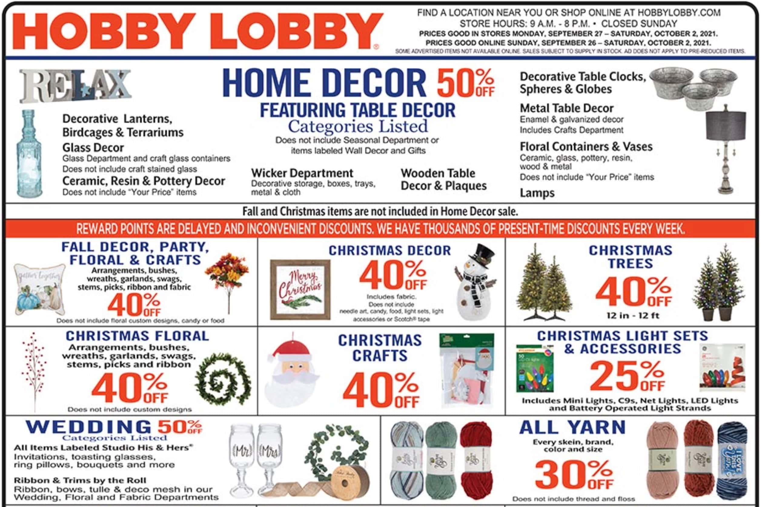 1. Hobby Lobby weekly ad September 26 - October 2, 2021