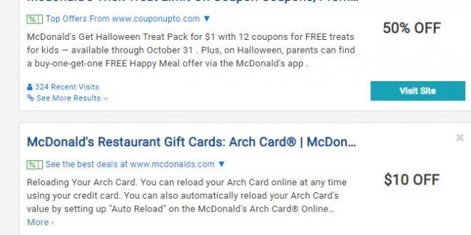 Mcdonalds Trick or Treat Coupons